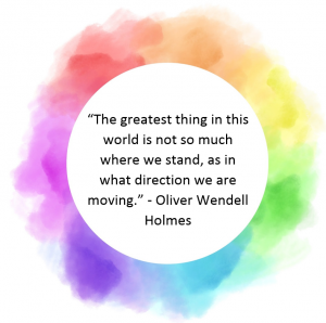Quote: The greatest thing in this world is not so much where we stand, as in what directions we are moving. Oliver Wendell Holmes.