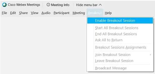 Breakout rooms options menu