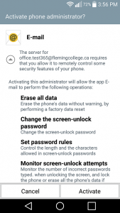 Android screenshot illustrating the account settings configuration page