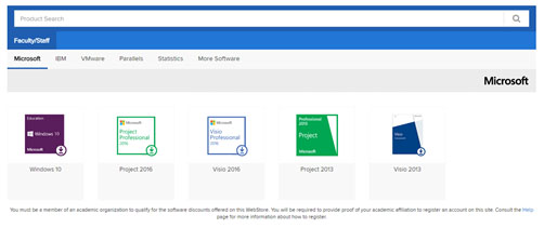 Image showing the list of software available.