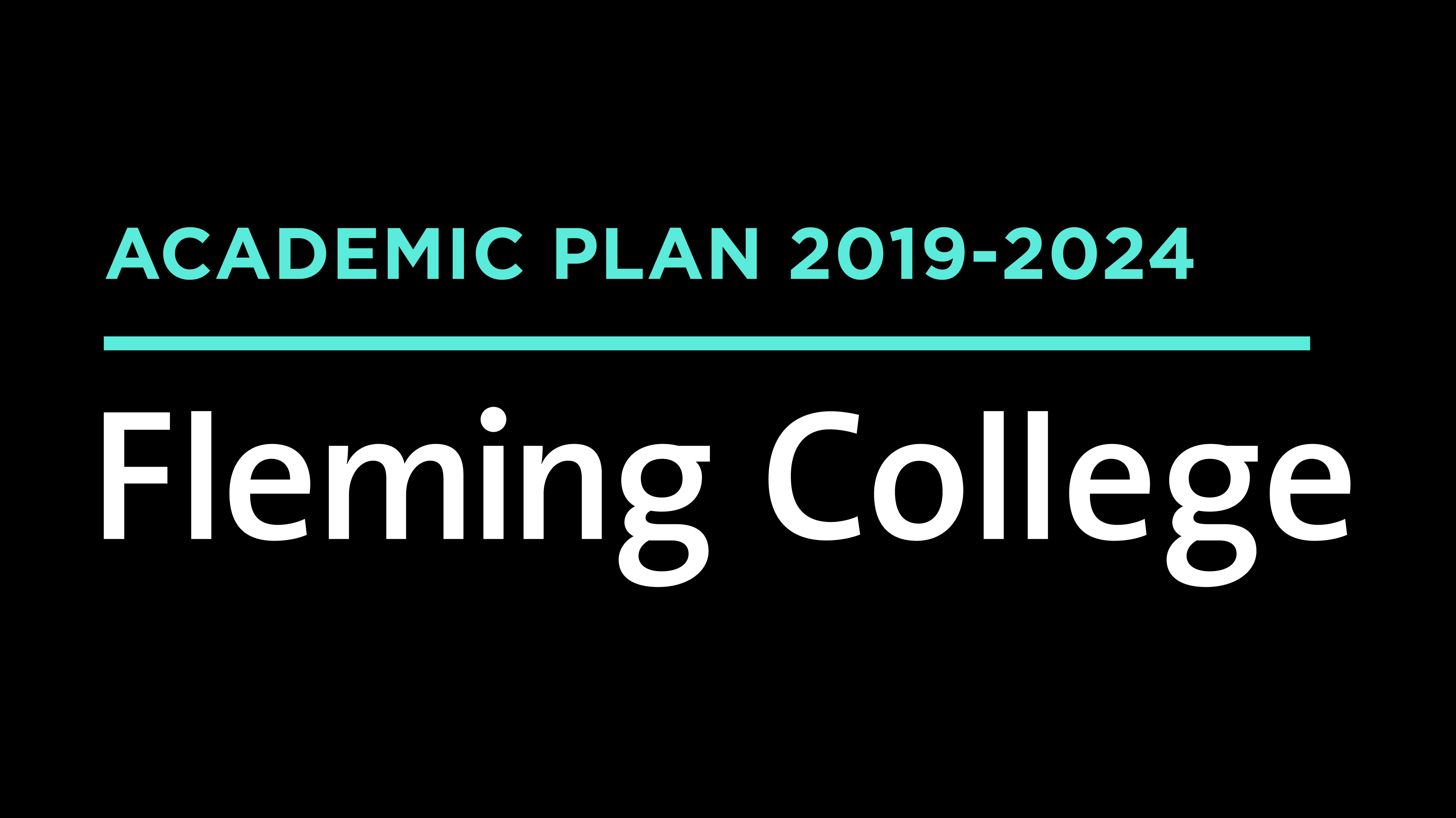 """Academic Plan 2019-2024 Logo """"Fleming College"""""""